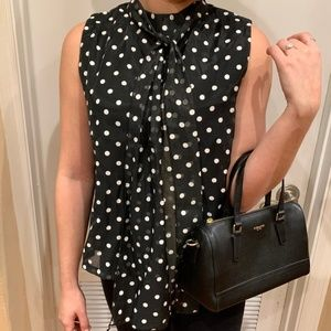 Tops - Polka Dot Halter Top with Bow Tie Neck